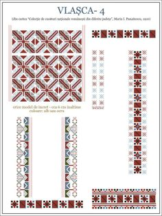 Boulghar- Romanian design Creative Embroidery, Folk Embroidery, Learn Embroidery, Embroidery Stitches, Embroidery Patterns, Cross Stitch Borders, Cross Stitch Patterns, Embroidery Techniques, Repeating Patterns