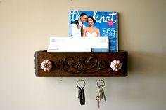 Cute oak drawer repurposed as a mail sorter/key rack
