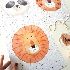 Watercolor Paintings Of Animals, Watercolor Lion, Watercolor Beginner, Animal Paintings, Lion Illustration, Watercolor Illustration, Animal Crafts For Kids, Art For Kids, Kids Room Paint