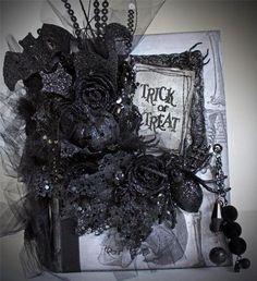 Halloween Spooky Gothic Handmade Shabby Premade Scrapbook Mini Photo Album Page | eBay