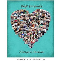 Birthday Gifts For Best Friend Photos Collage 45 Ideas Diy Best Friend Gifts, Birthday Gifts For Best Friend, Best Friend Photos, Mom Birthday Gift, Husband Birthday, Birthday Ideas, Heart Shaped Photo Collage, Photo Collage Gift, Photo Collages