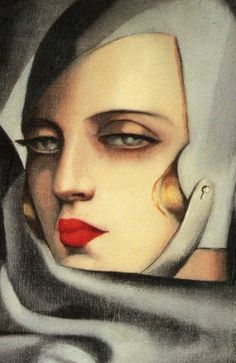 Tamara in the Green Bugatti, detail  Tamara de Lempicka (1898-1980)  In 1925 she painted her now iconic self portrait Auto-Portrait for the cover of a German fashion magazine.  Art Deco