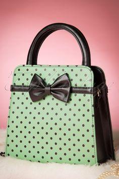 Banned - 50s Mabel Polkadot Handbag in Antique Green
