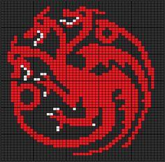 Ravelry: Game of Thrones: Targaryen Sigil pattern by Heather Zaccaro dragon red Cross Stitch Games, Dragon Cross Stitch, Beaded Cross Stitch, Cross Stitch Embroidery, Cross Stitch Patterns, Loom Beading, Beading Patterns, Knitting Charts, Knitting Patterns