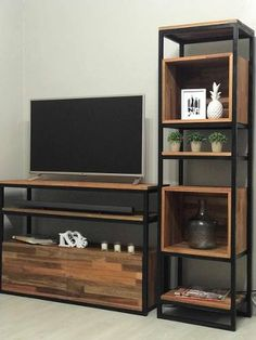 Rack Tv Mesa Estilo Industrial Hierro Y Madera + 1 Columna - Shelf Furniture, Iron Furniture, Home Decor Furniture, Living Room Furniture, Living Room Decor, Furniture Design, Furniture Sale, Rack Tv, Vintage Industrial Decor