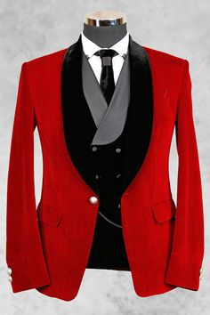 Red stylish velvet suit with shawl lapel-ST453 - FREE shipping world wide