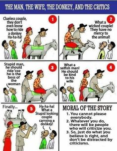 People Will Always Have Something to Say How Cruel He Two People on Is by Letting Two People on a Donkey's Backhls Wife Poor Anlmalwalk Low Stupid He Is by Letting His Wife Take the Ride Alone ? Dont Even Know How to Utilize the Donkey! English Stories For Kids, Moral Stories For Kids, English Story, Stories With Moral Lessons, Short Moral Stories, Wisdom Quotes, Life Quotes, Study Quotes, Lesson Quotes