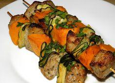 zadanie - gotowanie: Szaszłyki wieprzowe z batatami i cukinią.