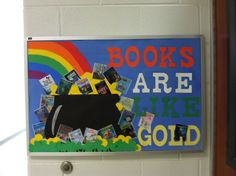 march bulletin boards for library | March/St.Paddy's inspired library bulletin board | Library Ideas