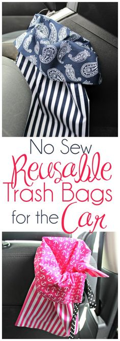 No Sew Reusable Trash Bags for the Car In case you are like me you reside and. No Sew Reusable Trash Bags for the Car In case you are like me you reside and breathe style. You happen to be consta Trash Can For Car, Car Trash, Trash Bag, Sewing Tutorials, Sewing Projects, Sewing Patterns, Sewing Ideas, Cricut Tutorials, Sewing Tips