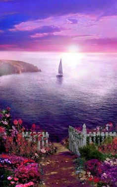 Purple!! Amazing ocean landscape scene.