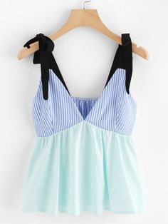 To find out about the Striped Patchwork Bow Tie Cami Top at SHEIN, part of our latest Tank Tops & Camis ready to shop online today! Summer Outfits, Cute Outfits, Trendy Tops, Cami Tops, Ladies Dress Design, Fashion Outfits, Fashion Trends, Mens Fashion, Fashion Tips