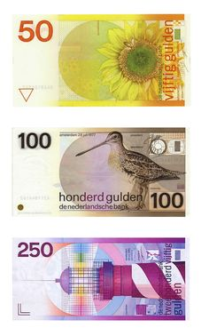 The Netherlands - Our beautiful money before the euro. Designed by Ootje Oxenaar.