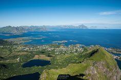 View from Steinstind over Stamsund, Vestvågøy, Lofoten Islands, Norway