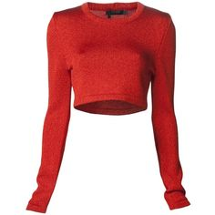 CALVIN KLEIN COLLECTION knit sweater ($1,255) ❤ liked on Polyvore featuring tops, sweaters, crop, red cropped sweater, crop top, red top, long sleeve knit sweater and red knit sweater
