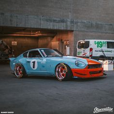 Rolling out of the StanceNation & Showoff event in Downtown Los Angeles. Datsun Car, Datsun 240z, Nissan Z Cars, Jdm Cars, Japanese Sports Cars, Japanese Cars, Silvia S13, Custom Muscle Cars, Super Sport Cars