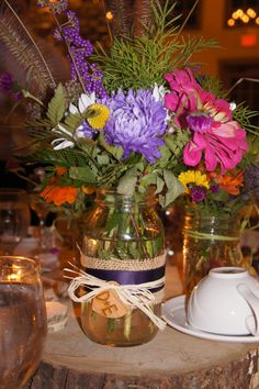 Rustic Centerpiece with Wood, Burlap and Wildflowers