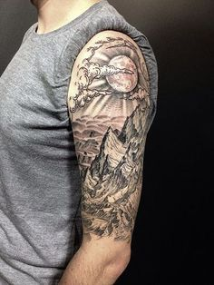 Brilliant Mountains View With Sun Tattoo On Half Sleeve. Allotattoo · Tatouage  montagne