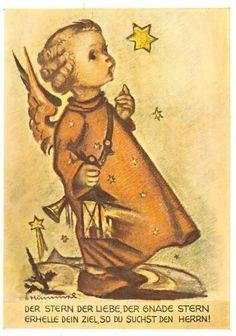 """vintage unused  greeting cards  ARS SACRA   B.I.Hummel /""""angel singing/""""479/"""""""