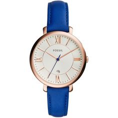 Fossil Jaqueline featuring polyvore, fashion, jewelry, watches, accessories, blue, womens-fashion, bracelet jewelry, blue jewelry, fossil jewelry, analog watches and blue watches