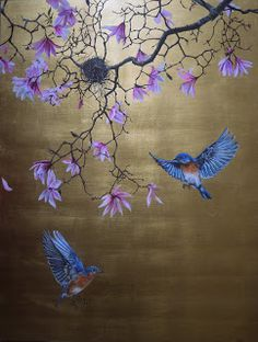 tlo Ruth Winding: Commission: Bluebirds With Magnolia Brand name clothing online deals Brand name cl Gold Leaf Art, Gold Art, Inspiration Artistique, Chinese Embroidery, Chinoiserie Wallpaper, Mural Art, Arabesque, Japanese Art, Blue Bird