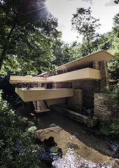 Falling Water, Kaufman House, Frank Lloyd Wright   Frank Lloyd Wright   architechture   interior design   modern art   modern   beautiful   #metalwallart #interiordesign https://www.statements2000.com/