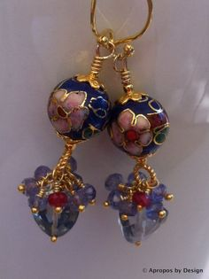 Asian vintage blue & gold cloisonne earrings by AproposbyDesign, $78.00