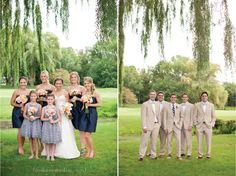 preppy wedding party, striped flower girl dresses, navy bridesmaids, khaki groomsmen, bowties, tripoli country club wedding