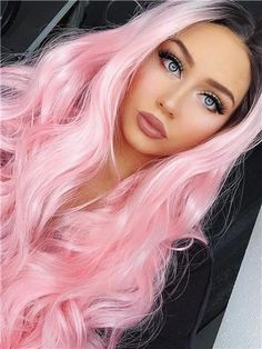 BLACK TO PINK BOUNCY WAVY LONG SYNTHETIC LACE FRONT WIG - FashionLoveHunter