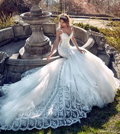 galia lahav bridal spring 2017 cap sleeves sweetheart mermaid wedding dress (ms elle) fv train