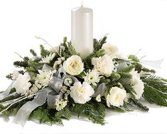 Christmas Flower Arrangements  #silver #white #christmas