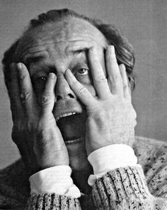 Jack Nicholson, actor, famous, star, personality, hands, wild, cool, going nuts, crazy, character, photography, black and white