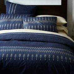 West Elm Organic Indigo Blue Ikat Stripe Duvet Cover King Size 2 King Shams | eBay