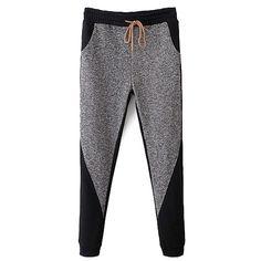 Color Block Narrow Feet Drawstring Pants (24 CAD) ❤ liked on Polyvore featuring pants, clothing - bottoms, drawstring trousers, drawstring pants and color block pants