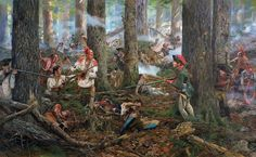 Battle of Oriskany - 06/08/77 A Patriot relief column under Gen. Nicholas Herkimer was ambushed near Fort Stanwix, New York by a combined force of Loyalists, Germans & Indians. In one of the bloodiest battles of the American Revolution in which the patriot militia barely held off the allied Loyalist forces. The painting centers on Han Yerry, shown taking a musket from his wife, Two Kettles Together, who had loaded her injured husband's rifle. Han Yerry's son is pictured in the background.