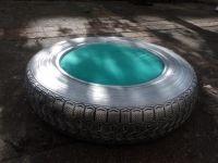 Pouf à partir d'un pneu recyclé