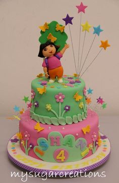 dora birthday cakes for girls | ... for a joint party for 4-year old Ishani and 1-year Sujay (Smurf Cake
