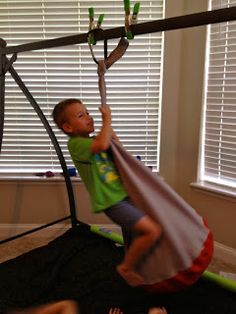 A home-made sensory swing for inside. So functional and helpful.