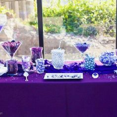 Purple table cloth color for candy bar at www.tableclothsfactory.com
