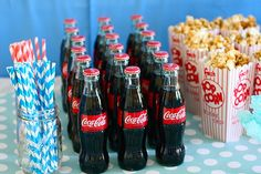 Coca-Cola bottles for movie night party 50s Theme Parties, 13th Birthday Parties, 50th Party, 14th Birthday, Birthday Party Themes, Birthday Party Ideas For Teens 13th, 50s Party Decorations, Birthday Celebrations, Sleepover Party