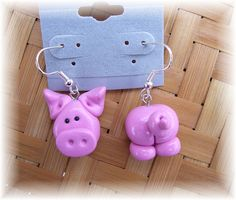Polymer Clay * Front & back pig earrings