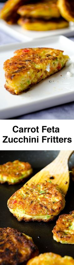 Zucchini fritters with carrot, red bell pepper and feta. A great twist on classic zucchini fritters. A perfect party food recipe! You can even make vegetarian burgers with these. #giverecipe #vegetarian #healthy #appetizer #sidedish