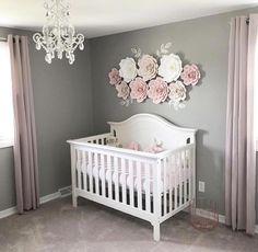 Baby girl flower wall nursery