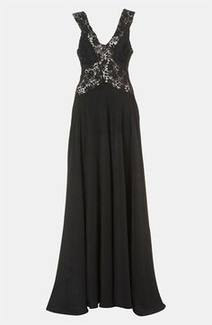 Topshop Crochet Trim Silk Gown available at Nordstrom