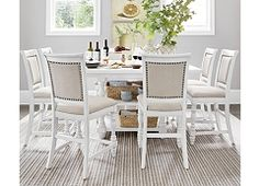 Welcome Home Counter Height Dining from Haverty's Bar Height Dining Table, Counter Height Chairs, White Dining Table, Dining Room Table, Dining Rooms, French Country Bar Stools, Pub Style Table, Square Kitchen Tables, Outdoor Stools