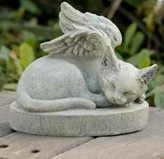 Large Sleeping Angel Cat Statue and Sculpture Pet Memorial Stones, Cat Memorial, Crazy Cat Lady, Crazy Cats, Pet Remembrance, Image Chat, Cat Statue, Pet Loss, Rainbow Bridge