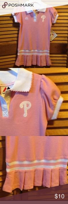 Pink Phillies Dress Pink Phillies polo dress with white collar with pink embroidered trim with pleated bottom. 2T. 100% cotton. Majestic Major League Merchandise.  NWT Dresses