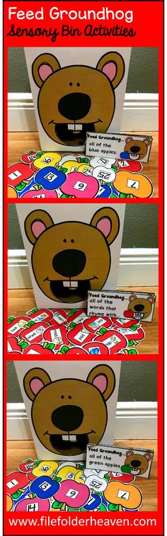 "These Groundhog Sensory Bin Activities: ""Feed Groundhog"" are a GREAT addition to your Groundhog or Groundhog Day themed sensory bins!  There are so many ways to use this Feed Groundhog Set. I have left it very open ended so that you can target the skills you need to target in a small group setting.  I have also included instruction cards for each set so that you can set the activity up as an independent center, and/or sensory bin activity."