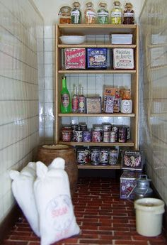 A Well-stocked Edwardian Pantry in 1:12 Scale Part of the enormous pleasure I get from the dolls house hobby is making all the little bi...