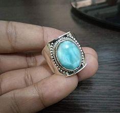 Handmade Wedding Rings, Larimar Rings, Boho Rings, Gypsy Rings, Valentines Jewelry, Gemstone Jewelry, Statement Jewelry, Jewelry Gifts, Unique Jewelry